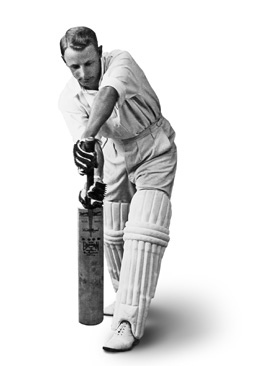 Sir Donald Bradman batting pose